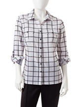 NY Collection Petite Grid Print Utility Top