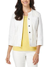 Rafaella Petite Solid Color White Double Weave Jacket
