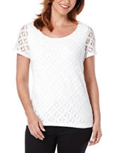 Rafaella Petite Solid Color White Lace Knit Top
