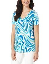 Rafaella Petite Watercolor Zebra Print Knit Top