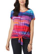 Rafaella Petite Multicolor Striped Print Tie Front Knit Top