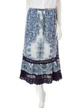 Hannah Petite Floral Print Crochet Trim Maxi Skirt
