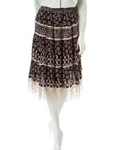 Hannah Petite Multicolor Print Crochet Trim Midi Skirt