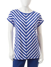 Ruby Rd. Petite Angled Striped Print Top