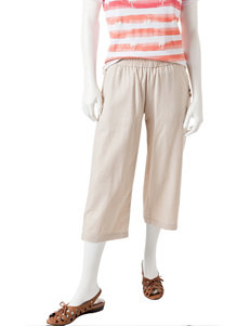 Briggs New York Petite Solid Color Linen Cropped Capris