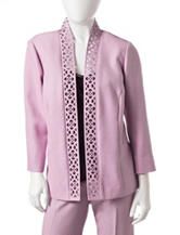 Alfred Dunner Petite Solid Color Lavender Cut Out Jacket