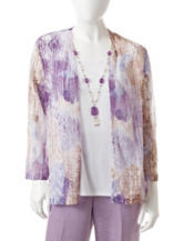 Alfred Dunner Petite Medallion Print Layered-Look Top