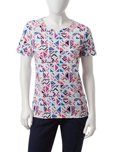 Rebecca Malone Petite Geo Abstract Print Notch Top