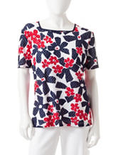 Alfred Dunner Petite Textured Knit Daisy Print Top