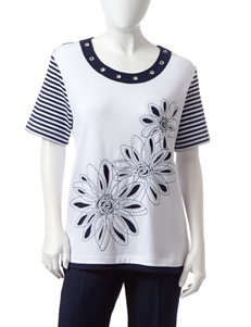 Alfred Dunner Petite Floral Striped Print Top