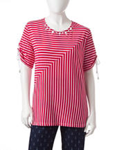 Alfred Dunner Petite Red & White Spliced Striped Print Top