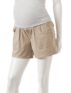 First Kick Khaki Over The Belly Twill Maternity Shorts