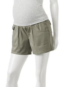 First Kick Olive Over The Belly Twill Maternity Shorts