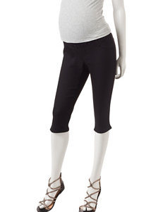 First Kick Solid Color Black Over The Belly Maternity Capris