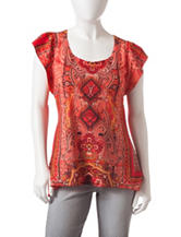 Energe Petite Moroccan Print Embellished Knit Top