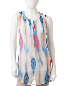 Signature Studio Petite Ikat Print Sheer Woven Top