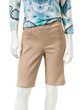 Gloria Vanderbilt Petite Avery Solid Color Khaki Bermuda Shorts