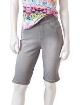 Gloria Vanderbilt Petite Avery Grey Striped Bermuda Shorts