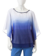 Ruby Rd. Petite Ombre Butterfly Woven Top