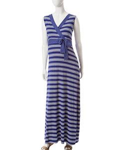 Three Season Maternity Striped Print Maxi Dress