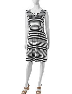 Three Season Maternity Striped Print Dress