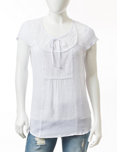 Valerie Stevens Petite Solid Color Lace Trim Peasant Top