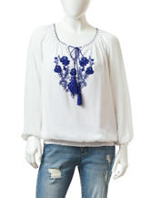 Valerie Stevens Petite Solid Color White Embroidered Peasant Top