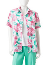 Alfred Dunner Petite Floral Print Layered-Look Top