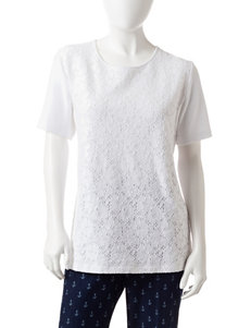 Alfred Dunner Petite White Lace Accent Top