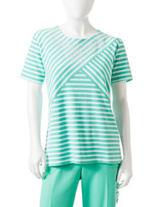 Alfred Dunner Petite Spliced Striped Print Top