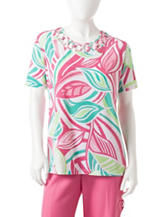 Alfred Dunner Petite Pink & Green Leaf Print Knit Top