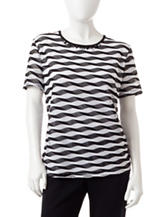 Alfred Dunner Petite Black & White Striped Mesh Knit Top