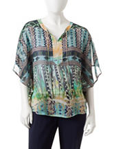 Valerie Stevens Petite Mixed Print Poncho Style Top