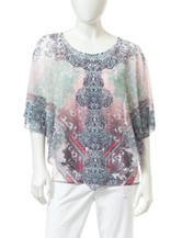 Energe Petite Floral Placement Print Overlay Top