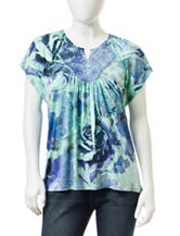 Energe Petite Tonal Blue Floral Print Knit Top