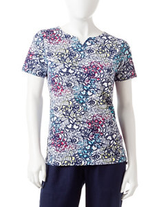 Rebecca Malone Petite Floral Lace Print Notch Top