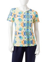 Rebecca Malone Petite Tribal Print Notch Top