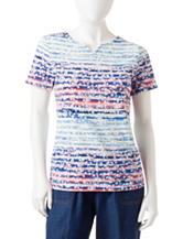 Rebecca Malone Petite Americana Floral Striped Print Notch Top