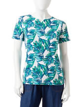 Rebecca Malone Petite Palm Leaf Print Notch Top