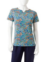 Rebecca Malone Petite Weave Print Notch Top
