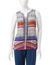 Valerie Stevens Petite Aztec Print Lace Back Top