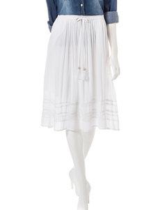 Hannah Petite Solid Color White Crochet Midi Skirt