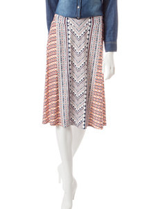 Hannah Petite Mixed Print Midi Skirt