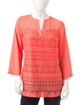 Zac & Rachel Solid Color Coral Lace Overlay Woven Top
