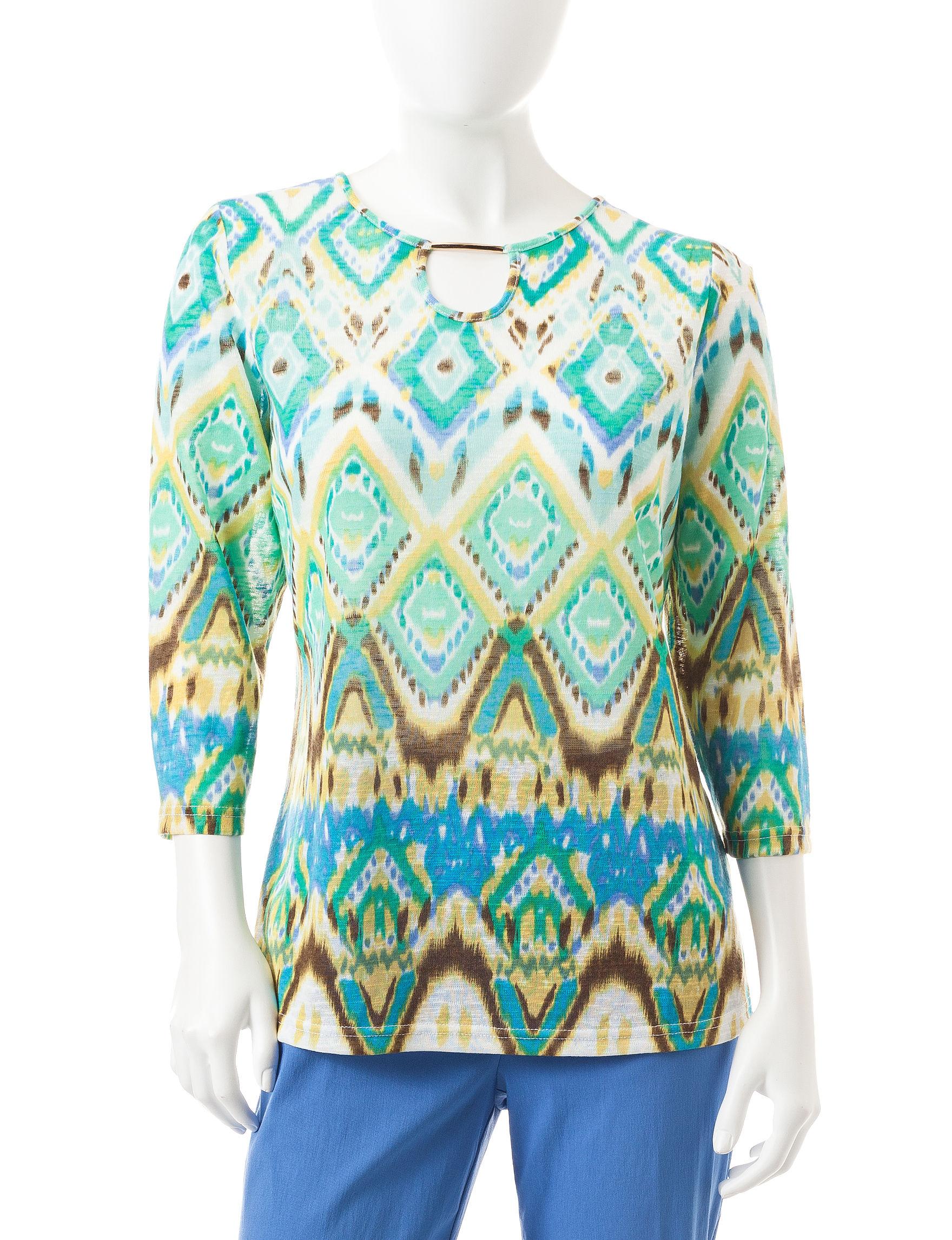 Cathy Daniels Green Multi Shirts & Blouses