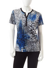 Rebecca Malone Petite Abstract Print Henley Top