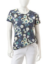 Rebecca Malone Petite Embellished Floral Print Burnout Top