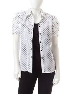 Rebecca Malone Petite Polka Dot Print Layered-Look Top