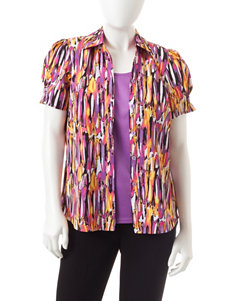 Rebecca Malone Petite Abstract Print Layered-Look Top