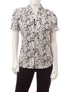 Rebecca Malone Petite Abstract Floral Print Layered-Look Top